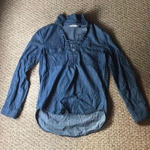 100% cotton denim look shirt